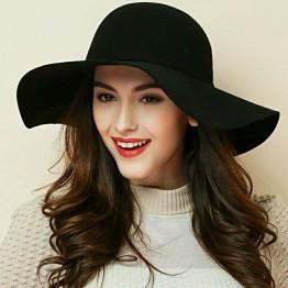 High Quality 100% Wool Fashion New Vintage Women Ladies Floppy Wide Brim Fedora Cloche Hat Cap