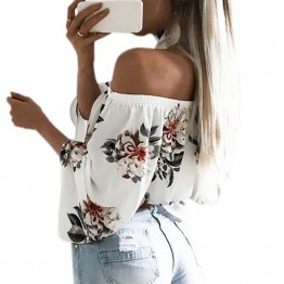 Floral Printed Boho Shirts Loose Beach Women Summer Blouse Casual Off Shoulder Top Flare Sexy Slash Neck