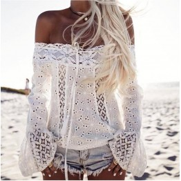Hollow Out Slash Neck Lace Floral Lady Tops