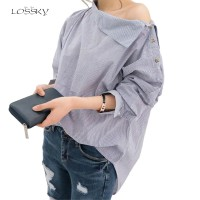 Womens Striped Sexy Skew Collar Loose Full Shirts Batwing Sleeve Blouse