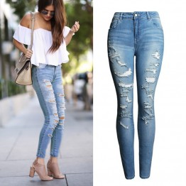 High Waist Jeans Ladies Cotton Denim Pants Stretch