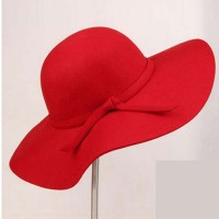 Wide Brim Woolen Vintage Women's Hat with Bowknot