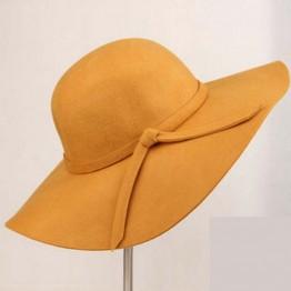 Wide Brim Woolen Vintage Women's Hat with Bowknot