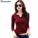 Cotton Female T Shirts V-Neck Solid Striped