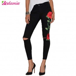 Stretch Embroidery Ripped Jeans Woman High Waist Skinny Jeans