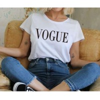 VOGUE Letter Printed T-Shirts Women T