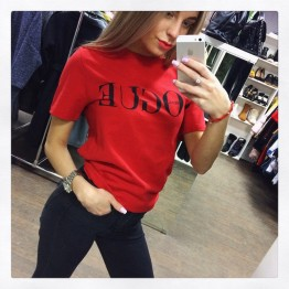 Women VOGUE Letter Printed T Shirt