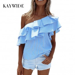 Shoulder Ruffles Tops Summer Striped Shirt Sleeveless Blouse