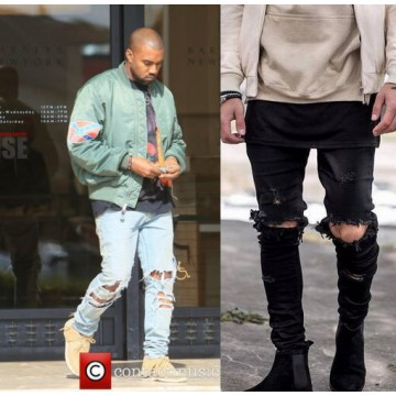 Kanye West Skinny Ripped Jeans For Men32696056536