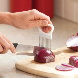 Handy Stainless Steel Onion Holder Tomato Slicer Vegetable Cutter