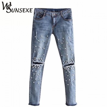 Knee Hole Ripped Women Rivet Pearl Jeans32816249343