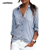 Women Striped Long Sleeve Shirt Turn-Down Collar Loose Sexy Tee