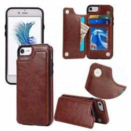 Leather Flip Stand Case Card Slot Holster Buckle Phone Cover