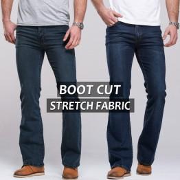 Mens jeans boot cut leg slightly flared slim fit classic denim Jeans