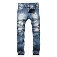 White ButtonMen Denim Blue Ripped Jeans
