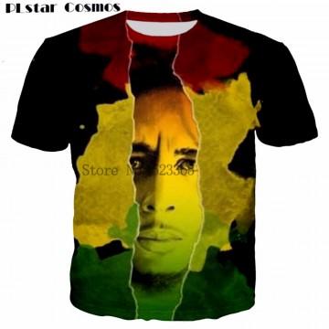 Reggae Star Bob Marley Print t shirt men 3D
