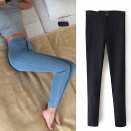 Skinny High Waist Blue Denim Pencil Pants Stretch