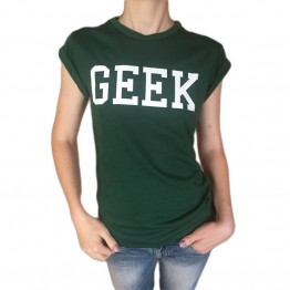 Casual O-Neck Slim T-shirts Geek Lettering