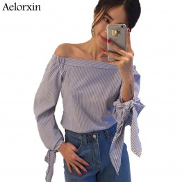 Elegant Bow Blue Off Shoulder Female Blouse