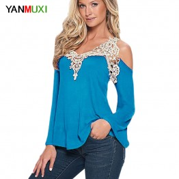 Sexy Floral Lace Off Shoulder Blue Shirt Streetwear Long Sleeve Loose